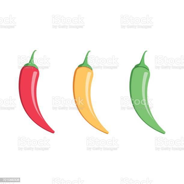 Mexicaanse Jalapeno De Pictogram Van De Vector Van Het Hot Chili Peper Op Witte Achtergrond Kleuren Hete Chilipepers Set Stockvectorkunst en meer beelden van Blad