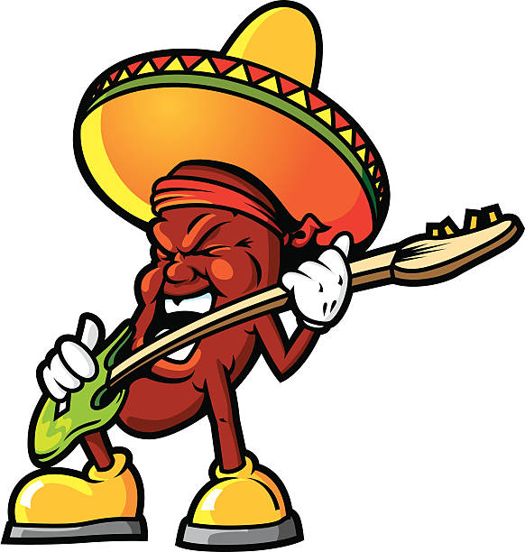 Mexican Jammin Bean This is a Jumping Bean jamming out to some Salsa! Ole' The file is provided in Illustrator CS2, version 8 EPS and a 12x12 inch 300dpi high-rez jpg. mexican restaurant stock illustrations