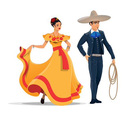 Mexican man and woman with national clothes