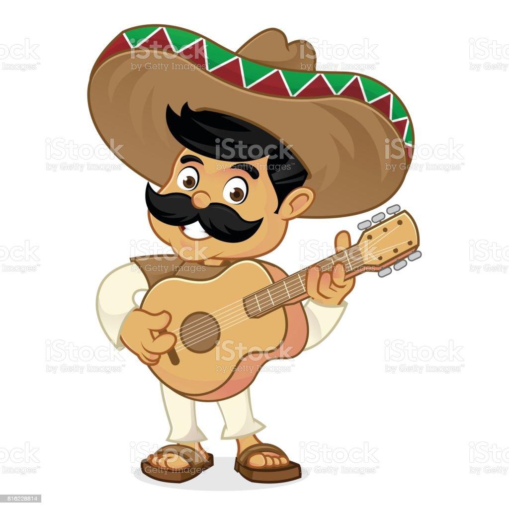 Meksika Adam Karikatür Gitar çalmak Stok Vektör Sanatı Animasyon