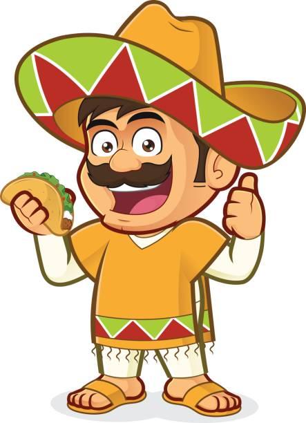 Mexikanische Mann hält einen taco – Vektorgrafik