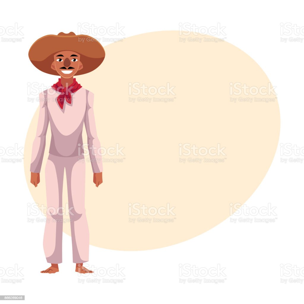 Mexican man in traditional national costume and red neck tie vector art illustration