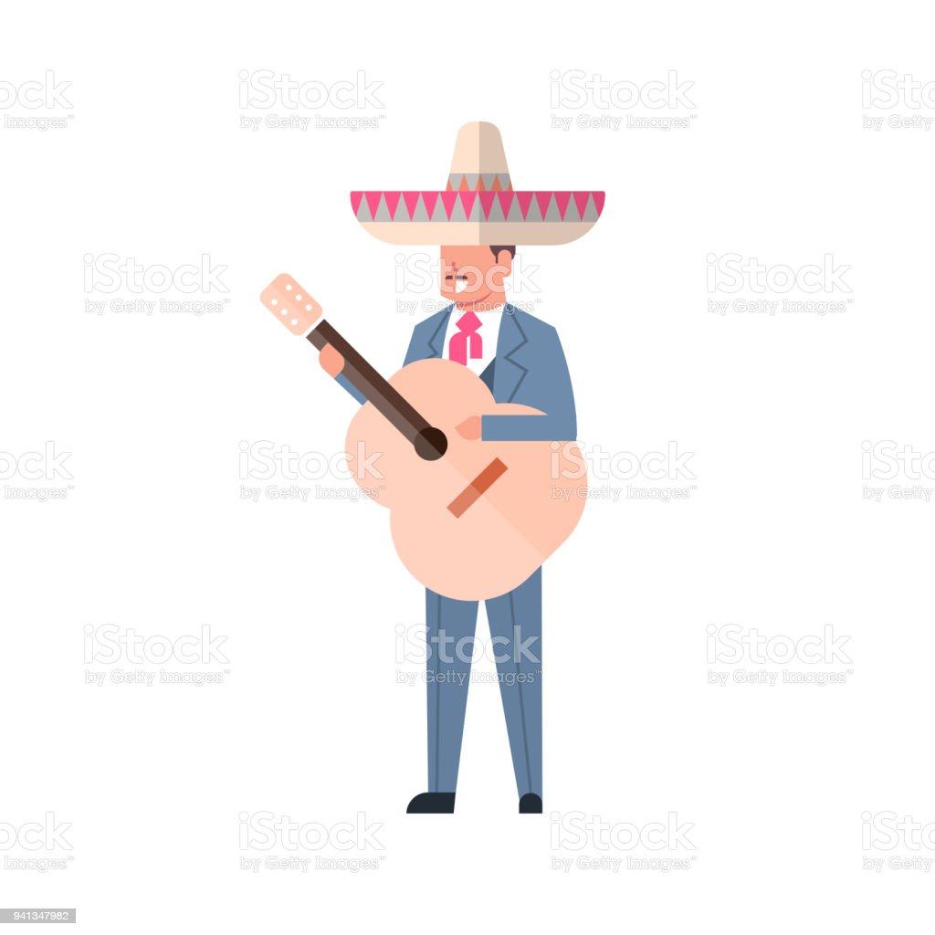 Gitar Geleneksel Giysiler Ve Beyaz Arka Plan üzerinde Izole Sombrero