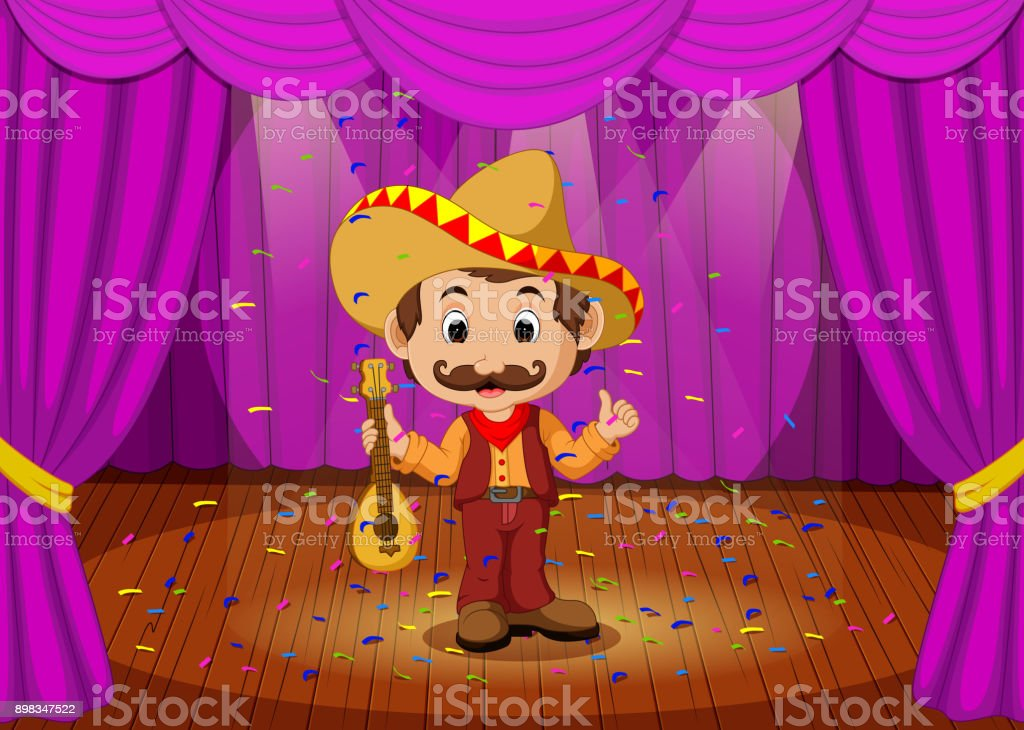 mexican man with sombrero and guitar on stage vector art illustration