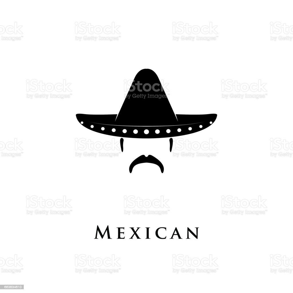 6a32f9d25aadb Homem mexicano com sombrero e bigode. vetor e ilustração royalty-free  royalty-free