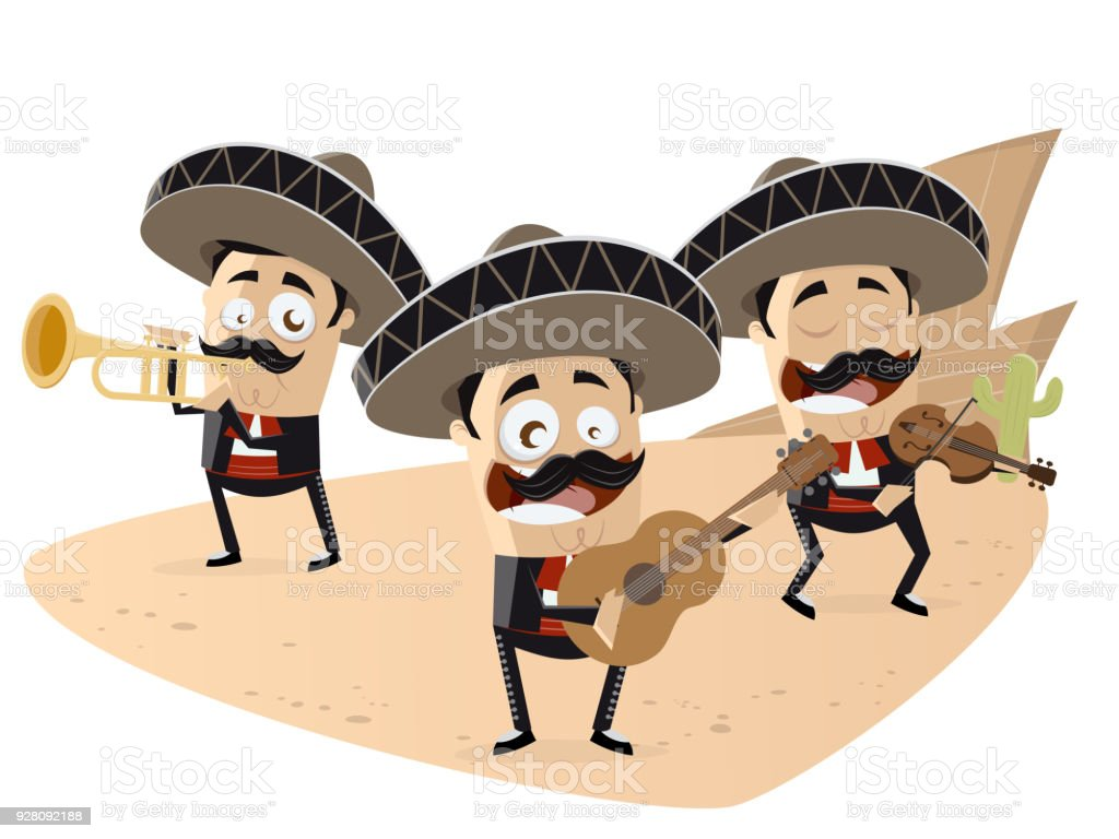 mexican mariachi band clipart vector art illustration