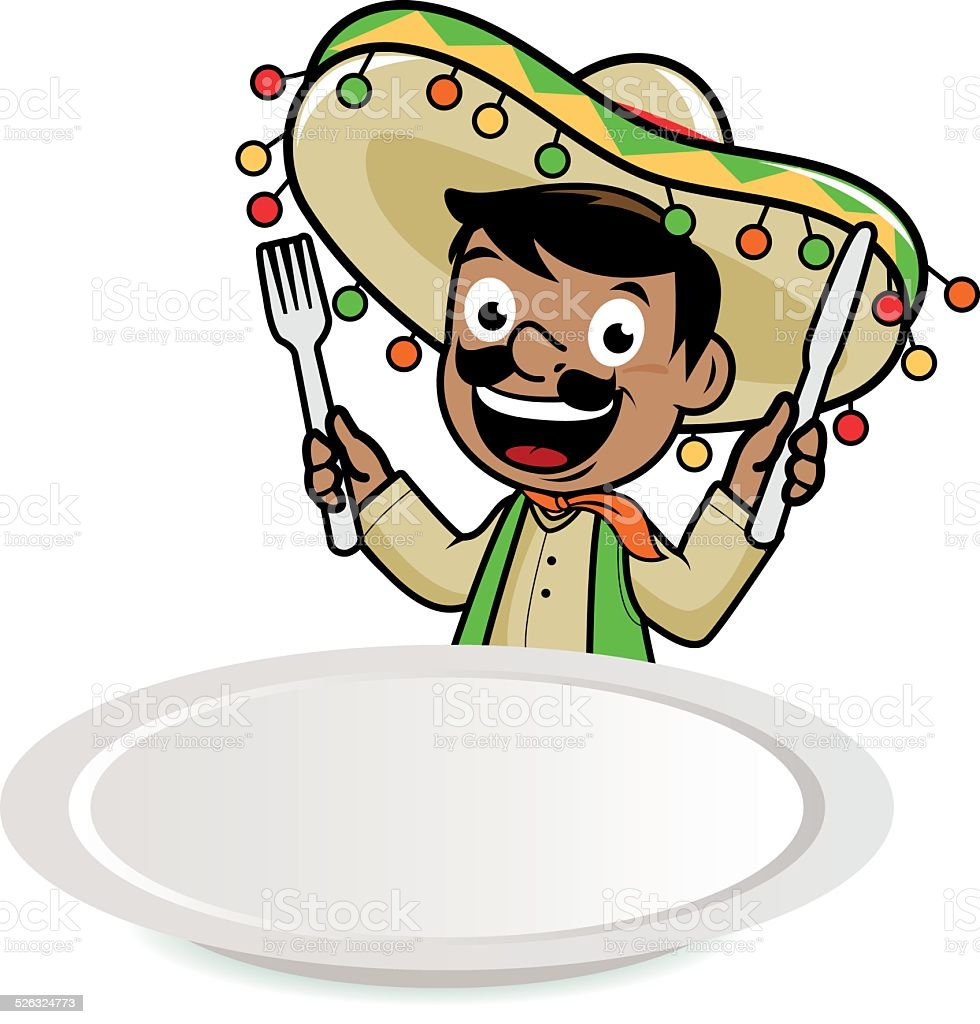 Mexican mariachi man looking over a blank plate vector art illustration