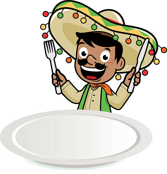 Mexican mariachi man looking over a blank plate Mexican man wearing a sombrero, looking over at a blank dinner plate and holding a fork and a knife, waiting for food. mexican restaurant stock illustrations
