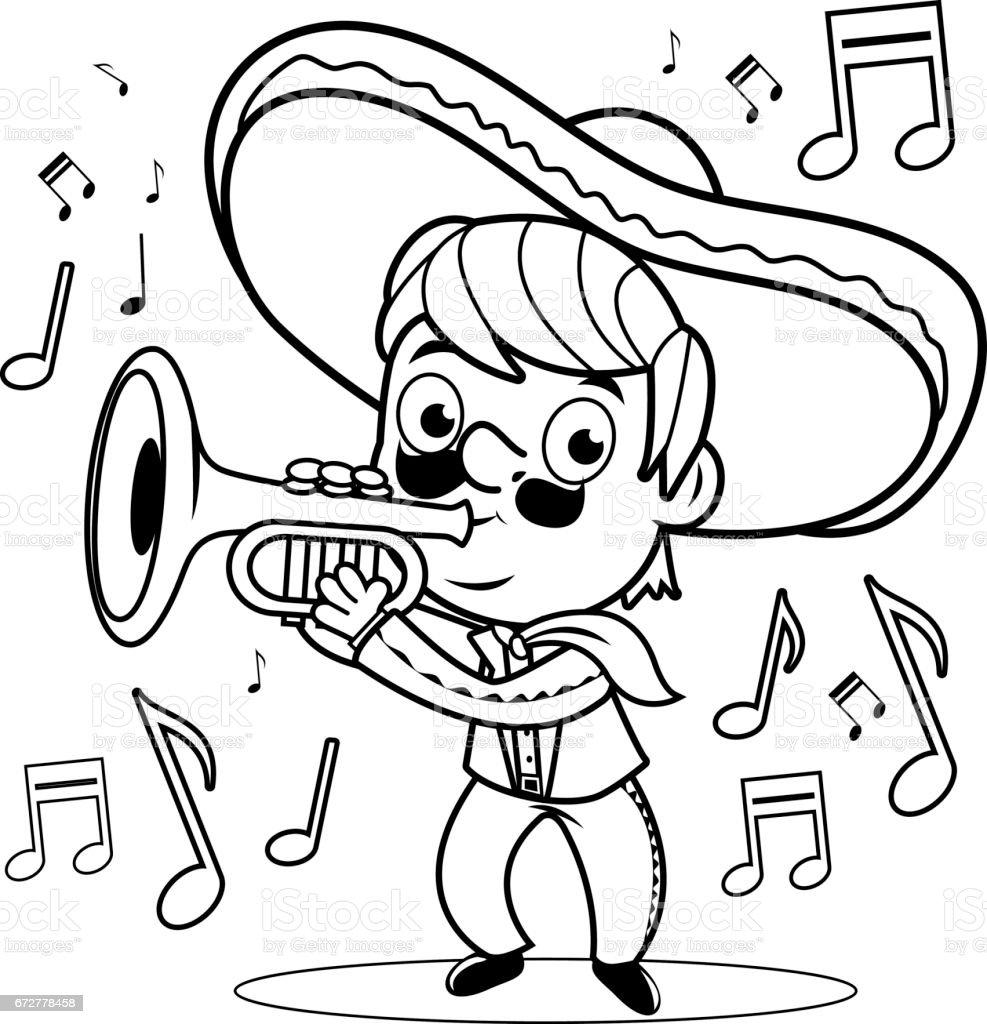 Ilustración De Hombre Mexicano Mariachi Tocando La Trompeta