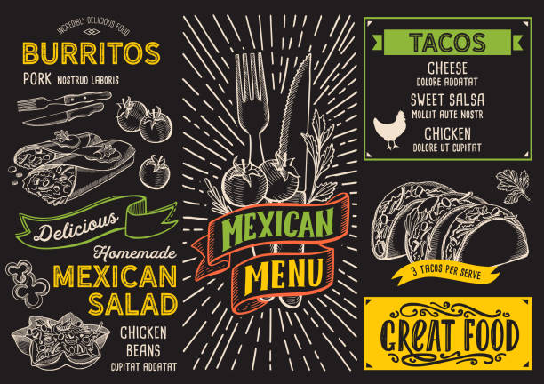 mexican menu food template for restaurant with doodle hand-drawn graphic. - taco stock illustrations, clip art, cartoons, & icons