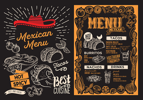 Mexican menu food template for restaurant with doodle hand-drawn graphic.