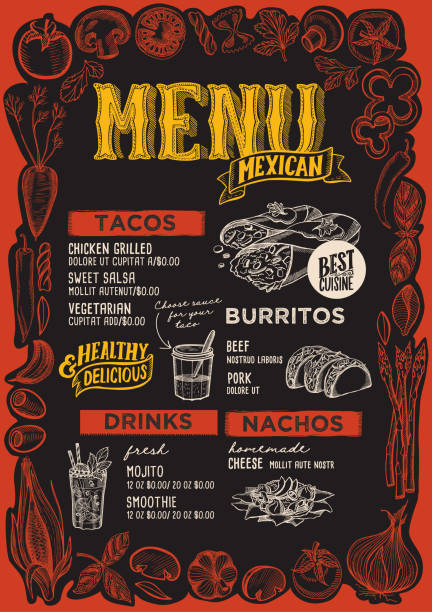 mexican menu for restaurant with frame of graphic vegetables. - mexican food stock illustrations, clip art, cartoons, & icons