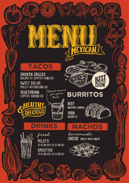 Menu mexicain pour restaurant avec cadre de légumes graphiques. - Illustration vectorielle