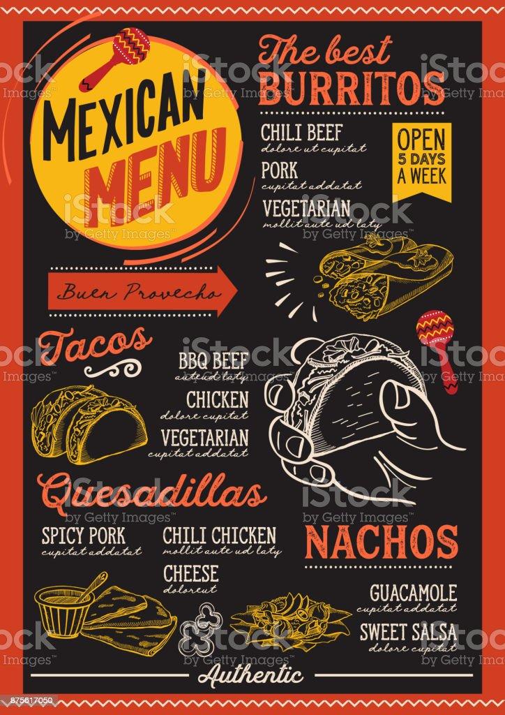 Restaurante menú mexicano, plantilla de alimentos. - ilustración de arte vectorial