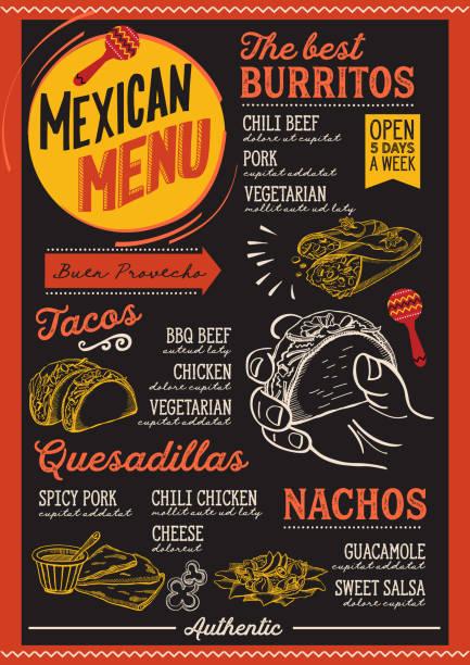 Restaurant menu mexicain, modèle alimentaire. - Illustration vectorielle