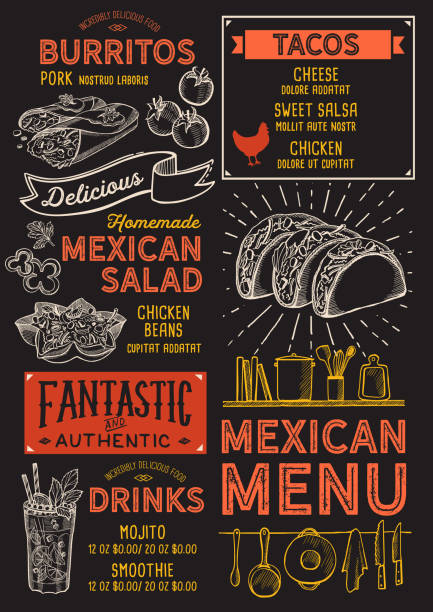 mexican menu restaurant, food template. - mexican food stock illustrations, clip art, cartoons, & icons