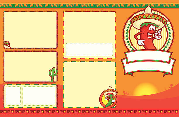 Mexican Menu Set 11x17 This is a Mexican Food menu set. This not a template as it will require you to create the inside. all elements are removable and I've included in an extra file, a version that still contains editable border sizes. The file is very easy to adjust with a little bit of experience. It is currently set up as an 11 x 17 with bleeds on a CMYK palette. The file is provided as an Illustrator 8 EPS and a 300dpi high-rez jpg. mexican restaurant stock illustrations