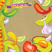 Mexican Menu. ( Sweet corn, Chili Pepper, Tomato, Garlic, Avocado and Lime on wooden background). Vector. EPS 8.