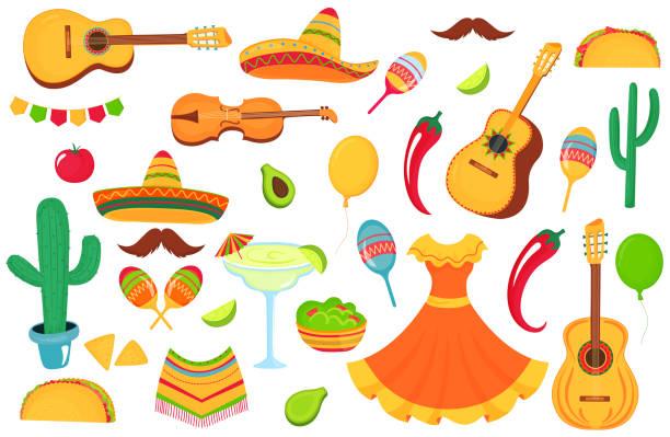 bildbanksillustrationer, clip art samt tecknat material och ikoner med mexikanska musik instrument, lokal mat, kläder. stor uppsättning dekorativa element för utformningen av en affisch, banner, reklamblad, gratulations kort, reklam. - cactus lime