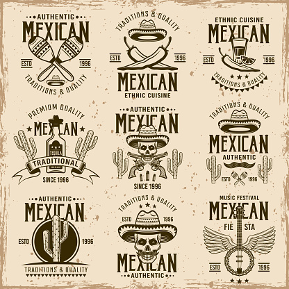 Mexican national attributes and authentic signs, set of vector brown emblems, labels, badges and logos in vintage style on dirty background with stains and grunge textures