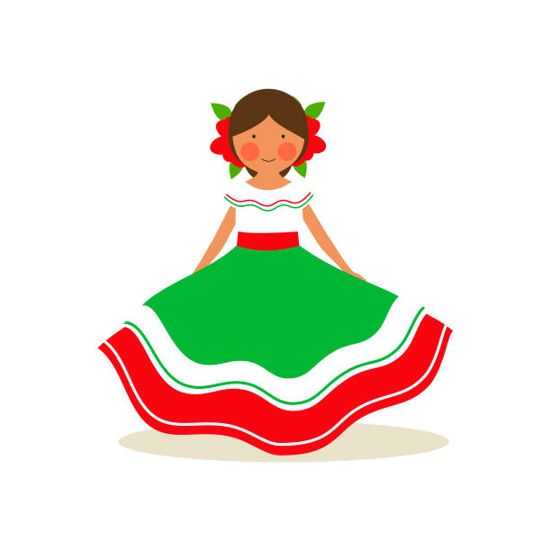 Mexican national costume for women vector art illustration