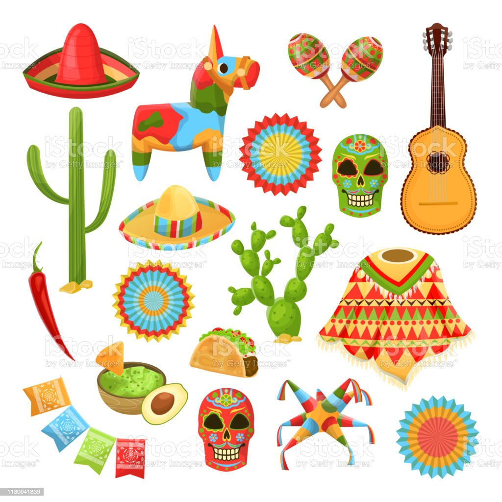 Mexican national symbols. Vector design elements for Cinco de Mayo holiday. Fiesta, celebration, party icons vector art illustration