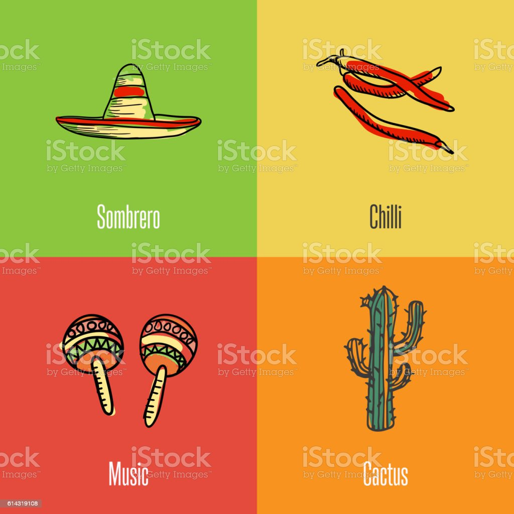 Mexican National Symbols Vector Icons Set Stock Vector Art More
