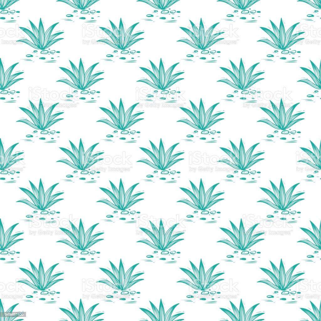 Fondo de vector de naturaleza mexicana. Patrones sin fisuras del cactus de agave - ilustración de arte vectorial