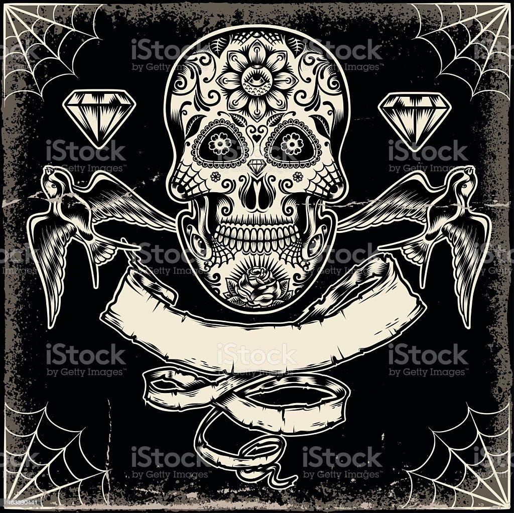 Mexikanische verzierten Schädel – Vektorgrafik