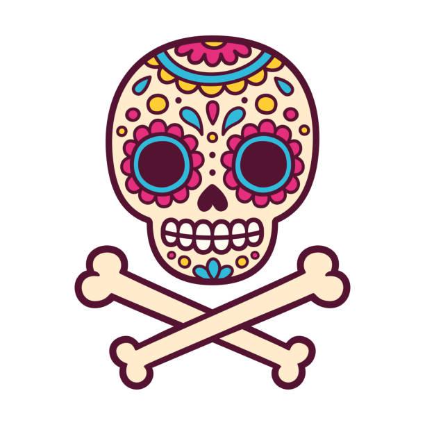 mexikanisch bemalter schädel - totenkopf tattoos stock-grafiken, -clipart, -cartoons und -symbole