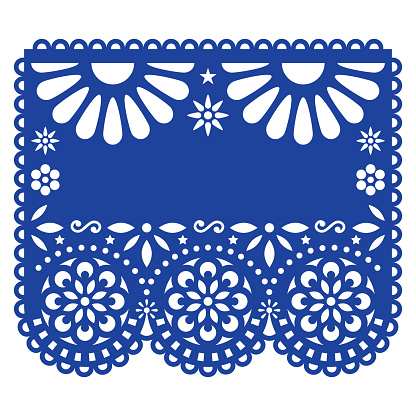 Mexican Papel Picado vector template design inspired by traditional cut out decoration with flowers and geometric shapes - greeting card or weddding invitation