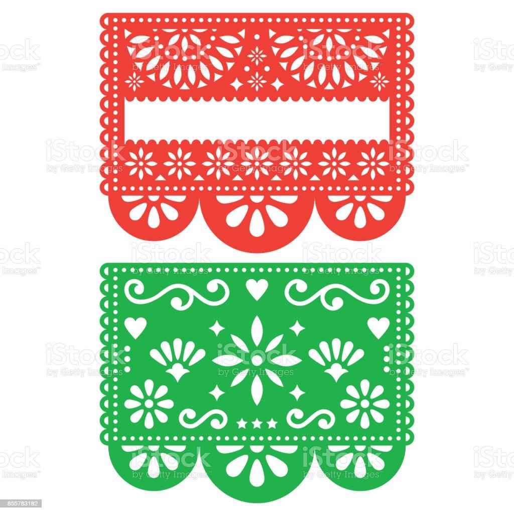 Mexican Papel Picado Vector Template Design Set Cutout