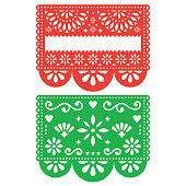 Traditional green and orange banner form Mexico, Blank text floral composition isolated on white