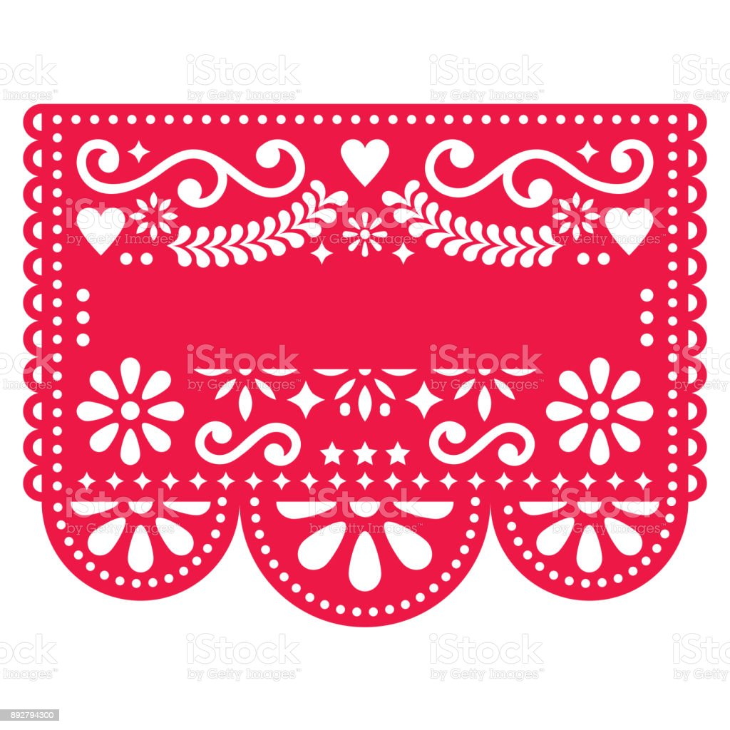 Mexicano Papel Picado vetor modelo de design - padrão tradicional vector vermelho com texto em branco - ilustração de arte em vetor