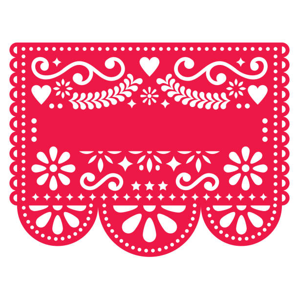 Mexican Papel Picado vector template design - traditional red vector pattern with blank text vector art illustration