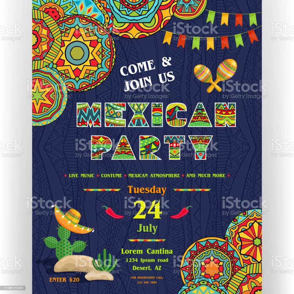 Mexican Party Announcing Poster Template With Ethnic