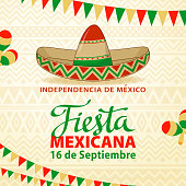 Mexican fiesta hottest party background included sombrero graphic elements.