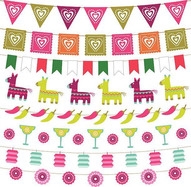 Mexikanische Feier bunting flags set – Vektorgrafik