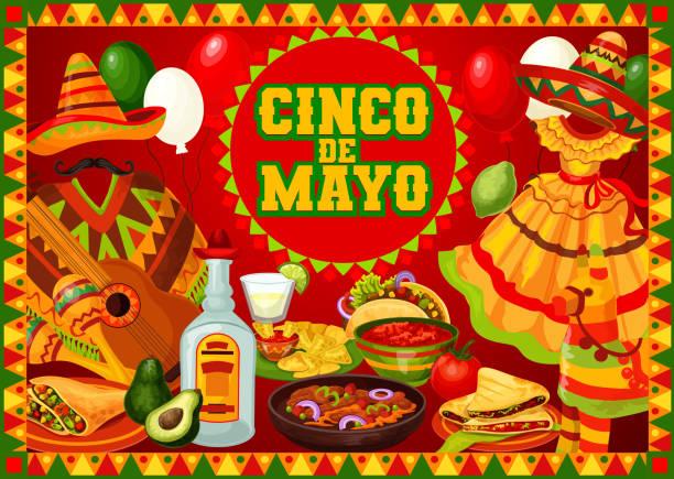 mexican party cinco de mayo party celebrations - cinco de may stock illustrations, clip art, cartoons, & icons