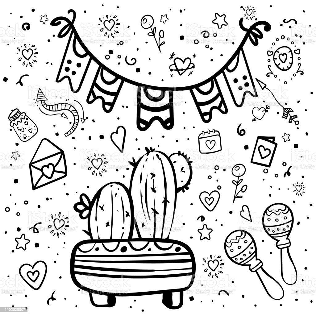 Ilustración De Elementos De Fiesta Mexicanos Para Colorear