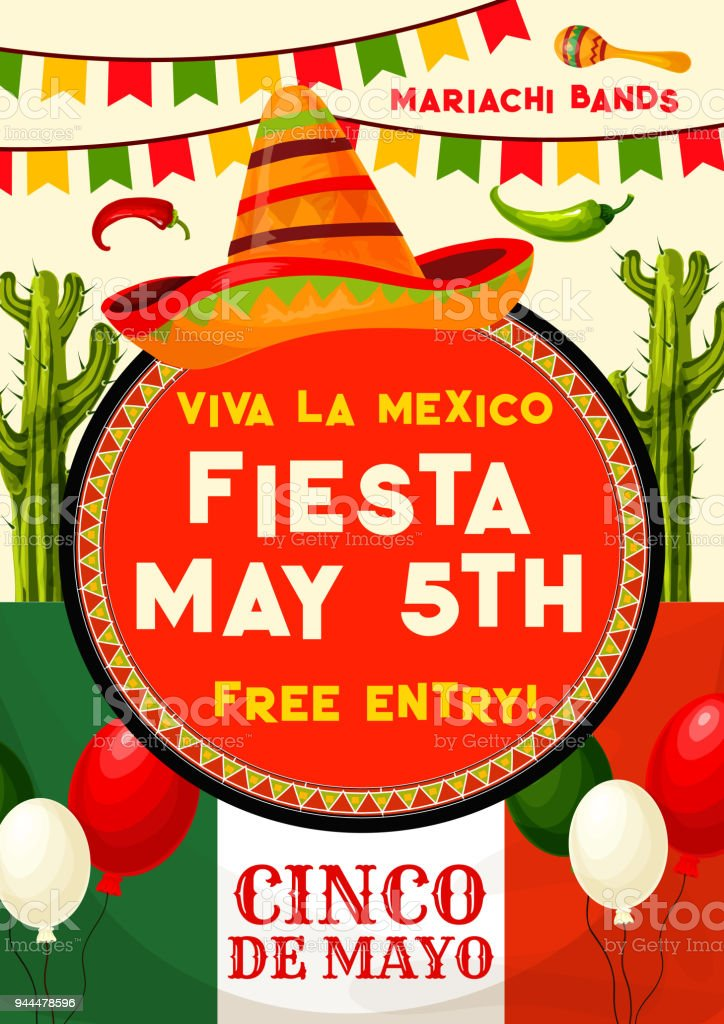 mexican party invitation for cinco de mayo holiday stock vector art