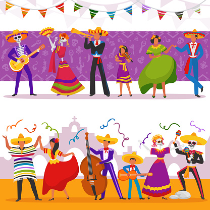 Mexican party people vector illustrations, characters play music and dance, fiesta band party set