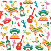 Mexican Party Seamless Pattern
