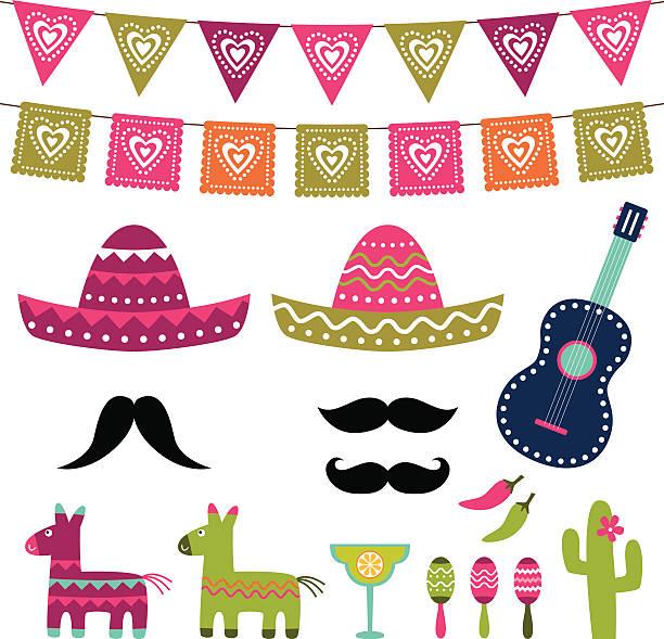 Mexikanische Feier Vektor-Dekoration und eine Fotokabine Requisiten – Vektorgrafik