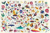 Mexican decorative vector pattern. Traditional symbols and decorative elements.