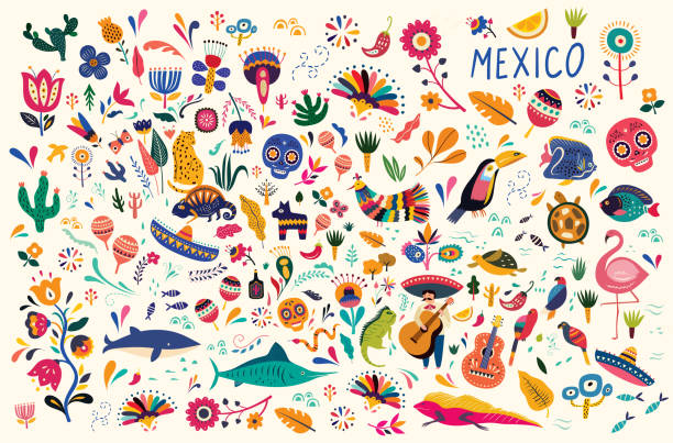 Mexican pattern Mexican decorative vector pattern. Traditional symbols and decorative elements. mexico stock illustrations
