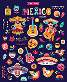 Funny illustration with decorative Mexican symbols