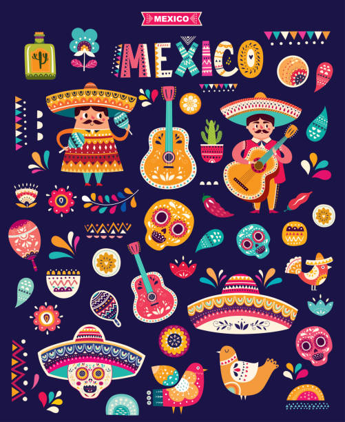 Mexican pattern Funny illustration with decorative Mexican symbols mexico stock illustrations