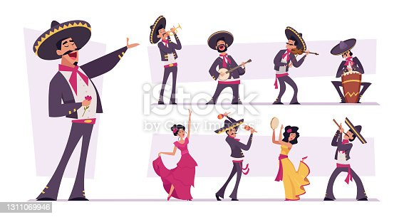istock Mexican people. Authentic nacional clothes for mexican characters traditional happy persons musicians in sombrero exact vector illustrations isolated 1311069946