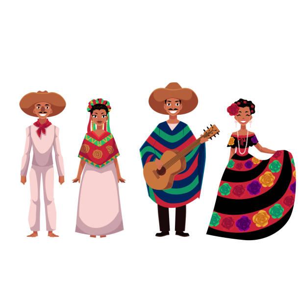 bildbanksillustrationer, clip art samt tecknat material och ikoner med mexikanska personer, män och kvinnor, i traditionella folkdräkter - latino music